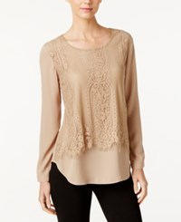 Ny Collection Lace Popover Blouse Kelp