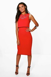 Boohoo Lace Detail Double Layer Midi Dress Red