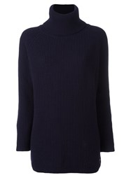 Woolrich Ribbed Roll Neck Jumper Blue