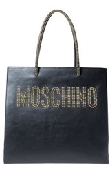 Moschino Studded Logo Leather Tote