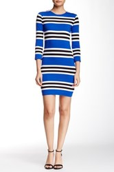 French Connection 3 4 Length Sleeve Multi Jag Stripe Knit Dress Blue