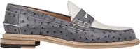 Band Of Outsiders Ostrich Stamped Penny Loafers Grey Size 5
