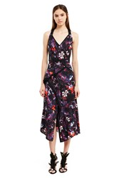 Proenza Schouler Floral Print Asymmetrical Hem Wrap Dress Multi