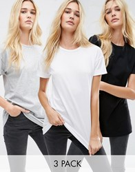 Asos The Ultimate Easy Longline T Shirt 3 Pack Black White Grey Multi
