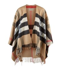 Burberry Shoes And Accessories Merino Wool And Cashmere Check Poncho Female Camel