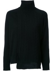 Astraet Asymmetric Cable Knit Jumper Black