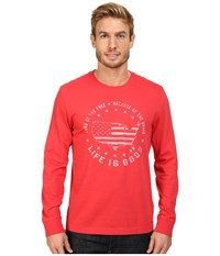 Life Is Good Land Of The Free Usa Map Long Sleeve Crusher Tee Simply Red Men's Long Sleeve Pullover