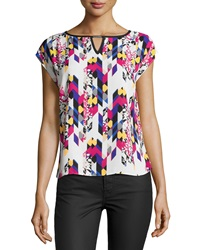 Laundry By Shelli Segal Printed Cap Sleeve Blouse Warm White Multi