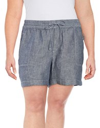 Lord And Taylor Plus Chambray Knit Shorts Dark Evening Blue