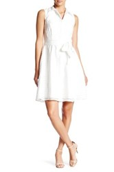 Donna Ricco Sleeveless Collared Tie Dress Petite White