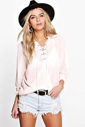Boohoo Lace Up Wrap Over Chiffon Blouse Blush