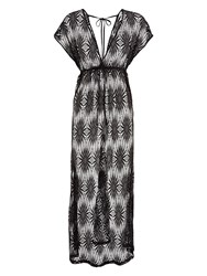 Accessorize Sunburst Lace Maxi Tabbard Dress Black