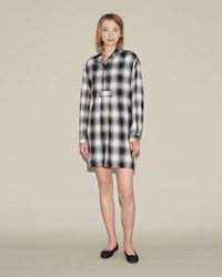 The Sleep Shirt Short Black Glen Plaid
