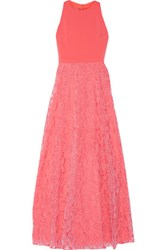 Badgley Mischka Cady And Embellished Tulle Paneled Embroidered Organza Gown Coral