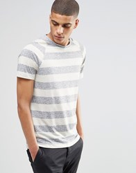Selected Blaston Striped Crew Neck T Shirt Grey Green