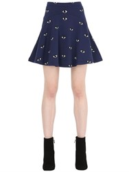 Kenzo Eyes Printed Flare Cotton Jersey Skirt