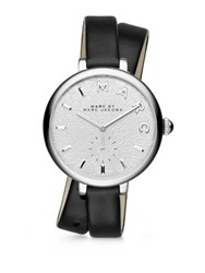 Marc By Marc Jacobs Sally Floral Stainless Steel And Leather Double Wrap Watch Silver Black
