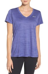 Under Armour Women's Tiger Tech Tee Grape Fusion Metallic Silver