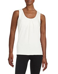 Max Mara Pleated Cotton Stretch Tank White