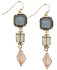 Inc International Concepts Gold Tone Triple Stone Drop Earrings Only At Macy's Multi