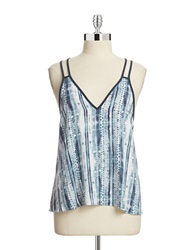 Design Lab Lord And Taylor Printed Double Strap Tank Top