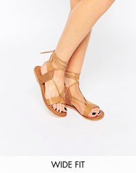 Asos Fair Ground Wide Fit Leather Flat Sandals Tan
