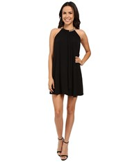 Jessica Simpson Solid Ity Dress With Gold Chain Necklace Js6d8545 Black Women's Dress