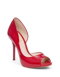 Jessica Simpson Bibi Peep Toe Pumps Lipstick Red