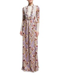Giambattista Valli Long Sleeve Floral Silk Gown W Macrame Bib Purple Multi Purple Multi