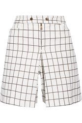 Tomas Maier Checked Brushed Cotton Shorts White