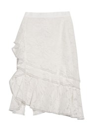 Oscar De La Renta Ruffled Lace Pencil Skirt White