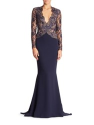 Reem Acra Floral Lace Gown Navy