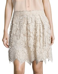 Anna Sui Flared Pleated Lace Skirt White