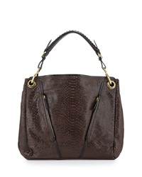 Bette Embossed Leather Tote Bag Espresso Oryany