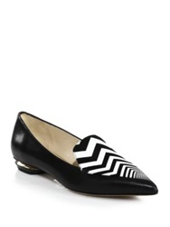 Nicholas Kirkwood Leather Zigzag Detail Loafers Black White