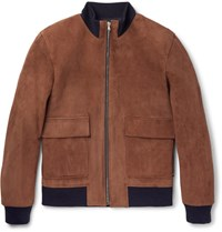 Solid Homme Suede Bomber Jacket Brown