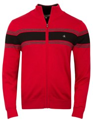 Calvin Klein Full Zip Lined Sweater Red