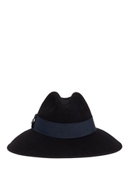 Armani Collezioni Felted Wool Wide Brim Fedora Hat Black