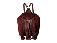 Frye Clara Fringe Backpack Wine Soft Vintage Leather Suede Backpack Bags Red