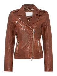 Oui Zip Up Leather Jacket Toffee