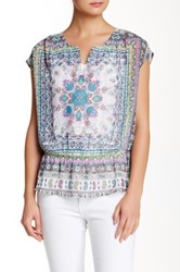Daniel Rainn Cap Sleeve Peplum Blouse Multi