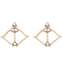 Aamaya By Priyanka Bow And Arrow 18Ct Rose Gold Plated And White Topaz Earrings Rose Gold White Topaz