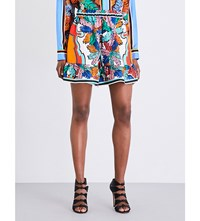 Emilio Pucci Palm Leaf Print Silk Twill Shorts Multi