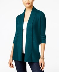 Jm Collection Petites Petite Open Front Ribbed Cardigan Only At Macy's Teal Abyss