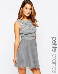 Maya Petite Skater Dress With Embellished Top And Tulle Skirt Gray