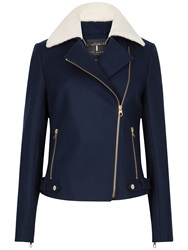 Ted Baker Ayda Faux Shearling Collar Biker Jacket Navy