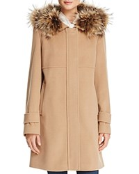 Basler Fur Trimmed Zip Coat Camel