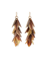 Ashley Pittman Tanzu Layered Leaf Dangle Earrings Light Horn