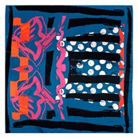 Bianca Elgar Multicolour Summer Medium Square Scarf Black White Blue