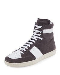Saint Laurent Colorblock Suede High Top Sneaker Gray White Grey White